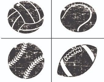 "Magnolia Design Co-Sports Balls-Reusable Adhesive Silkscreen Stencil 8.5"" X 11""-Chalk Art DIY"