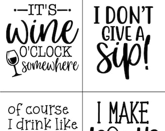 "Magnolia Design Co-Wine O'Clock-Reusable Adhesive Silkscreen Stencil 8.5"" X 11""-Chalk Art DIY"