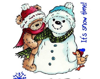 "Crafter's Companion Popcorn the Bear Christmas Collection ""Snow Love"" Unmounted Rubber Stamps"