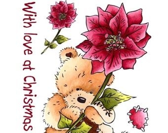 "Crafter's Companion Popcorn the Bear Christmas Collection ""With Love"" Unmounted Rubber Stamps"
