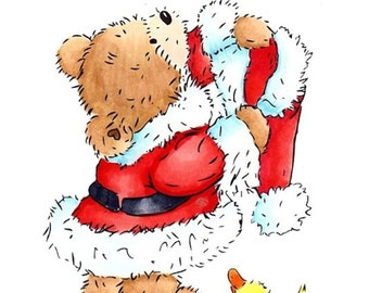 "Crafter's Companion Popcorn the Bear Christmas Collection ""Santa Bear"" Unmounted Rubber Stamps"