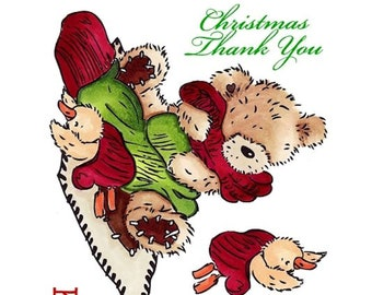 "Crafter's Companion Popcorn the Bear Christmas Collection ""Christmas Hugs"" Unmounted Rubber Stamps"