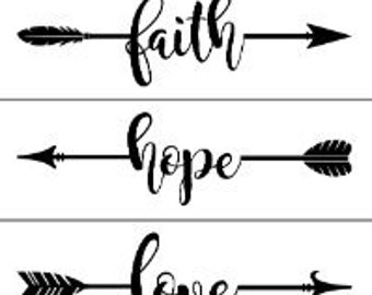"Magnolia Design Co-Faith Hope Love Arrows-Reusable Adhesive Silkscreen Stencil 8.5"" X 11""-Chalk Art DIY"