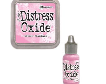 Tim Holtz Ranger Distress Oxide Duo-Kitsch Flamingo-Distressed Oxide Ink Pad and Re-inker Bundle