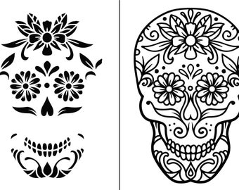 "Magnolia Design Co-Sugar Skull-Reusable Adhesive Silkscreen Stencil 12"" x 18""-Chalk Art DIY"