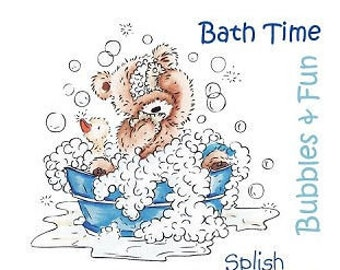 "Crafter's Companion Popcorn the Bear Kids Collection ""Bath Time"" Unmounted Rubber Stamps"