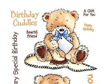 "Crafter's Companion Popcorn the Bear Collection ""Birthday Cuddles"" Unmounted Rubber Stamps"