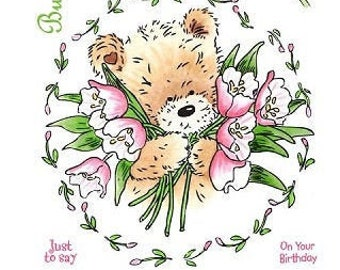"Crafter's Companion Popcorn the Bear Collection ""Bunches of Love"" Unmounted Rubber Stamps"