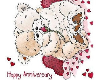 "Crafter's Companion Popcorn the Bear Romance Collection ""Special Couple"" Unmounted Rubber Stamps"