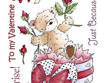 "Crafter's Companion Popcorn the Bear Romance Collection ""Just Because"" Unmounted Rubber Stamps"