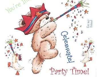 "Crafter's Companion Popcorn the Bear Kids Collection ""Celebrate"" Unmounted Rubber Stamps"