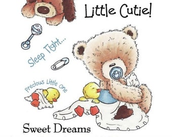 "Crafter's Companion Popcorn the Bear Platinum Collection ""Little Cutie"" Unmounted Rubber Stamps"
