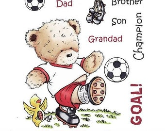 "Crafter's Companion Popcorn the Bear Platinum Collection ""Football Crazy"" Unmounted Rubber Stamps"