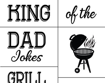 "Magnolia Design Co-King of the Dad Jokes-Reusable Adhesive Silkscreen Stencil 8.5"" x 11""-Chalk Art DIY"