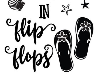 "Magnolia Design Co-Life is Better in Flip Flops-Reusable Adhesive Silkscreen Stencil 8.5"" x 11""-Chalk Art DIY"