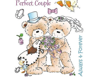 "Crafter's Companion Popcorn the Bear Romance Collection ""Wedding Day"" Unmounted Rubber Stamps"