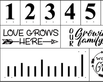 "Magnolia Design Co-Growth Chart-Reusable Adhesive Silkscreen Stencil 12"" x 18""-Chalk Art DIY"