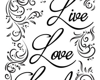 "Magnolia Design Co-Live Love Laugh-Reusable Adhesive Silkscreen Stencil 5""X7""-Chalk Art DIY"