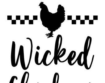"Magnolia Design Co-Wicked Chickens-Reusable Adhesive Silkscreen Stencil 5""X7""-Chalk Art DIY"