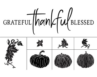 "Magnolia Design Co-Grateful Thankful Blessed-Reusable Adhesive Silkscreen Stencil 12"" x 18""-Chalk Art DIY"