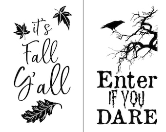 "Magnolia Design Co-Fall Tags-Reusable Adhesive Silkscreen Stencil 8.5"" X 11""-Chalk Art DIY"
