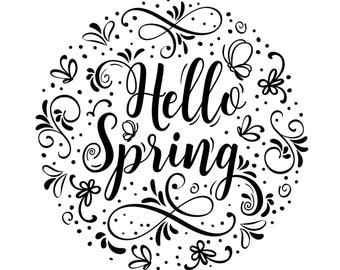 "Magnolia Design Co-Hello Spring 2021-Reusable Adhesive Silkscreen Stencil 10"" X 10""-Chalk Art DIY"
