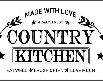 "Magnolia Design Co-Country Kitchen-Reusable Adhesive Silkscreen Stencil 12"" x 18""-Chalk Art DIY"