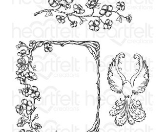 """Heartfelt Creations """"Flowering Dogwood Branches"""" Cling Stamp Set HCPC-3774"""