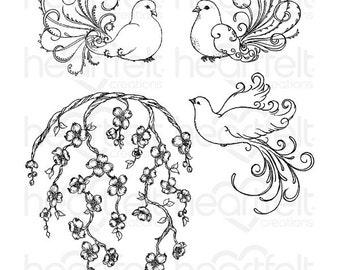 "Heartfelt Creations ""Flowering Dogwood & Doves"" Cling Stamp Set HCPC-3775"