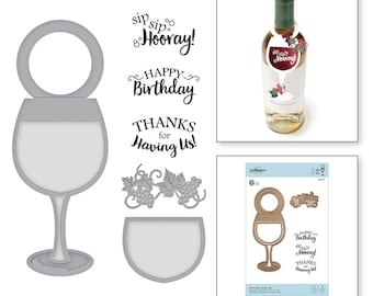 Spellbinders Wine Glass Bottle Tag Stamp and Die Set - Exclusive SDS-134