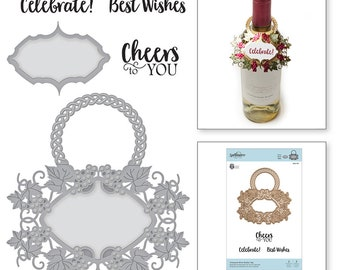 Spellbinders Vineyard Wine Bottle Tag Stamp and Die Set - Exclusive SDS-133