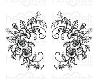 Heartfelt Creations Delicate Pansy Spray Cling Stamp Set HCPC-3864
