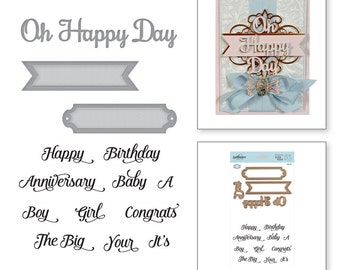 Spellbinders Oh Happy Day Elegant 3D Vignettes by Becca Feeken Stamp and Die Set SDS-116