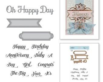 Spellbinders Oh Happy Day Elegant 3D Vignettes by Becca Feeken Stamp and Die Set SDS-116