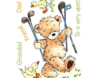 "Crafter's Companion Popcorn the Bear Collection ""Golfing Popcorn"" Unmounted Rubber Stamps"