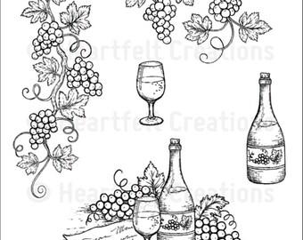 Heartfelt Creations Italiana Grape Clusters Cling Stamp Set HCPC-3697