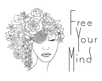 "Magnolia Design Co-Free Your Mind-Reusable Adhesive Silkscreen Stencil 8.5"" x 11""-Chalk Art DIY"