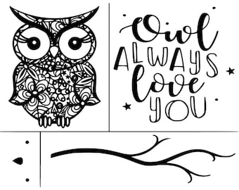 "Magnolia Design Co-Owl Always Love You-Reusable Adhesive Silkscreen Stencil 8.5"" X 11""-Chalk Art DIY"
