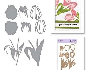 Spellbinders Shapeabilities Exclusives Layered Tulips Layering Die Set Etched Dies S4-923