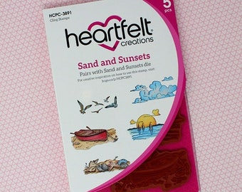 Heartfelt Creations Sand and Sunsets Cling Stamp Set HCPC-3891