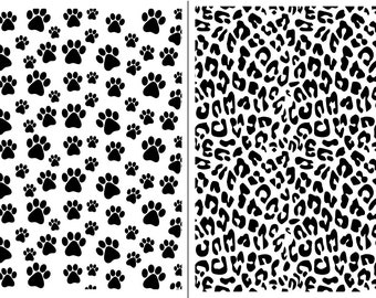 "Magnolia Design Co-Dog Paws and Leopard Print-Reusable Adhesive Silkscreen Stencil 12"" x 18""-Chalk Art DIY"