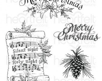 Heartfelt Creations Silent Night School Cling Stamp Set HCPC-3833