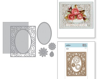 Spellbinders Card Creator A2 Corner Cotillion Etched Dies Romancing the Swirl Becca Feeken S5-364