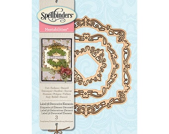 Spellbinders Nestabilities Label 58 Decorative Elements Etched Dies S4-736