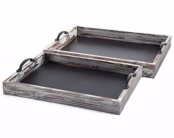 "Magnolia Design Co-15.75""X11.75""X2.75"" Nesting Trays 2pk-Chalk Surface-Chalk Art DIY"
