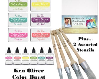 Ken Oliver - Color Burst Stencil & Inkpad Bundle - 6 pc Inkpad - 6 pc Reinker - Stencil Brush 4 pc and Much more