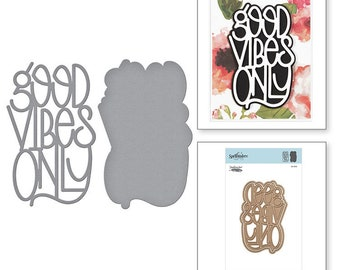 Spellbinders Shapeabilities Good Vibes Only Etched Dies by Stephanie Low S4-918