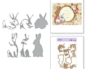 Spellbinders Shapeabilities Exclusives Layered Rabbits Layering Etched Dies S6-148