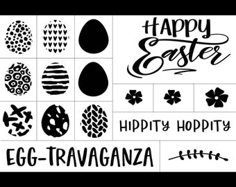 "Magnolia Design Co-Happy Easter-Reusable Adhesive Silkscreen Stencil 12"" x 18""-Chalk Art DIY"