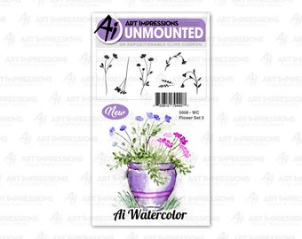 Art Impressions Unmounted Flower Set Stamp Set 5008 - WC